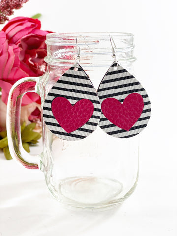 Stripe heart Earrings and Bow collection set!