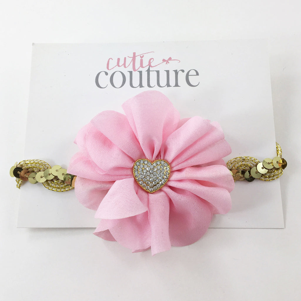 Penelope-Pink and Gold Heart Headband