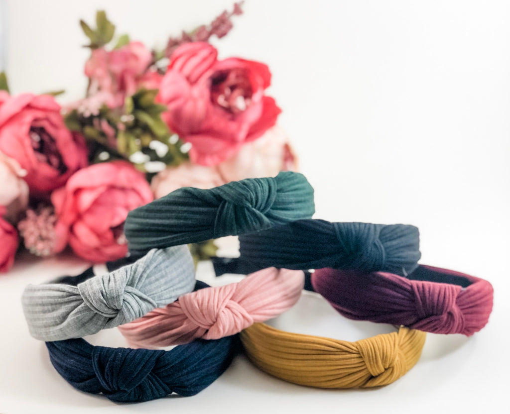 Twisted Knot Hard Headband-Cotton stripe