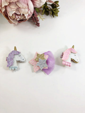 Glitter Clips- Unicorn and stars clip or headbands