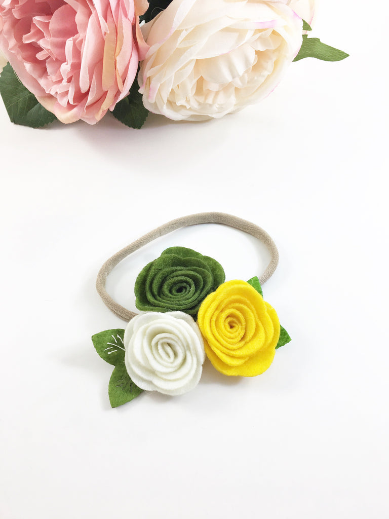 Donna- Olive, Cream, Yellow Felt Headband