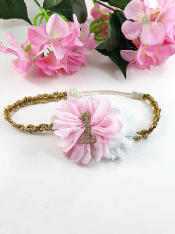 1st Birthday Headband- Pink,  White and Gold Headband