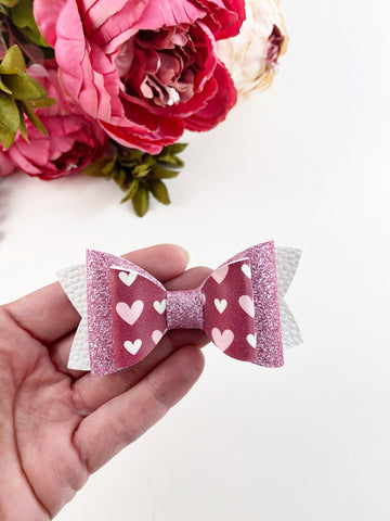 Double Bow Heart Clip or Headband