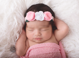 Donna- Pink and White felt flower headband