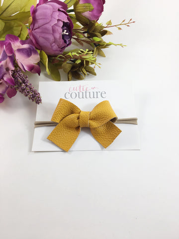 Leather Myah Bow- Mustard