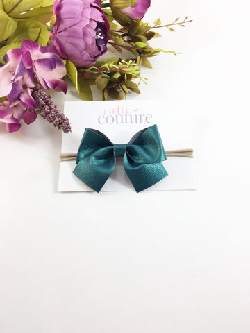 Leather Myah Bow- Teal