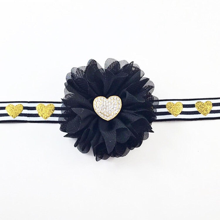 Luciana- Black and Gold Heart Headband