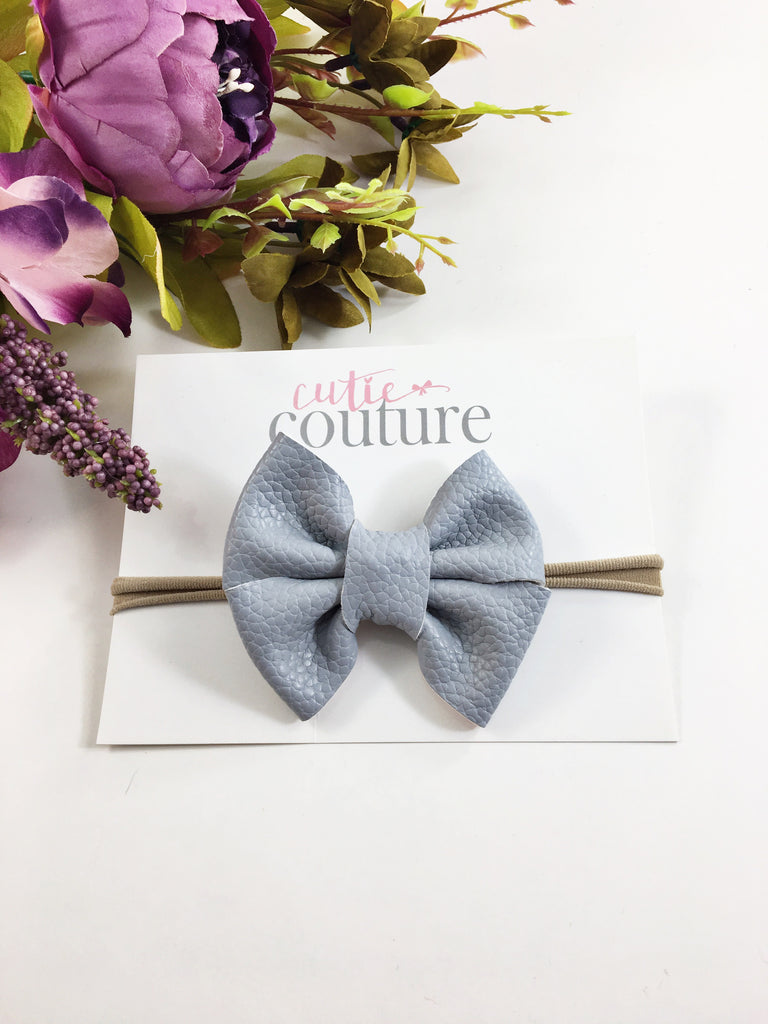 Leather Chloe Bow- Gray