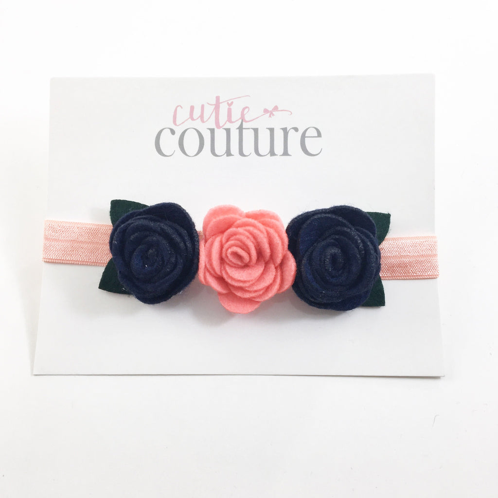 Donna- Navy and coral felt flowers on coral headband