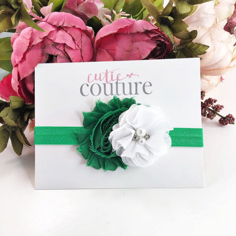 Camilla- Green and White Headband