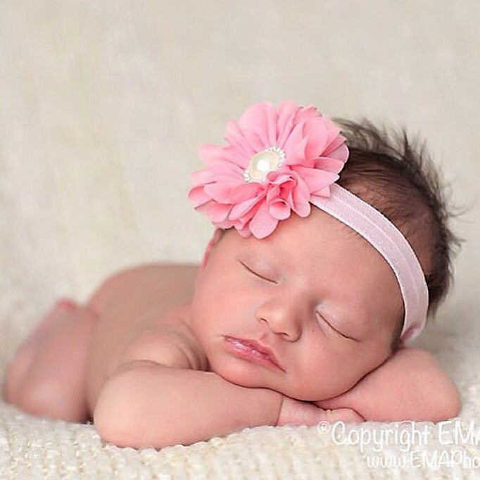 Luciana- Pink Flower accented with pearl