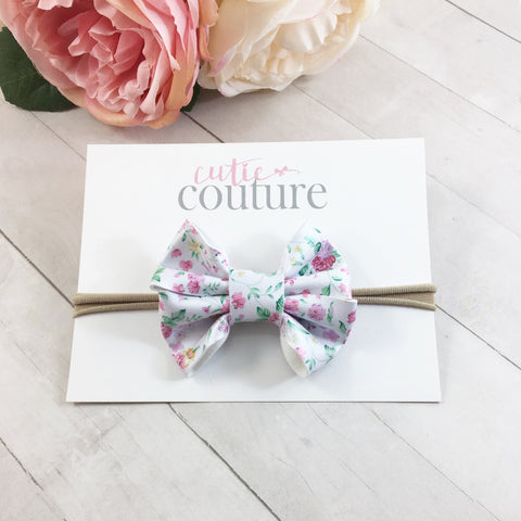 Leather Chloe Bow- White & Pink Floral