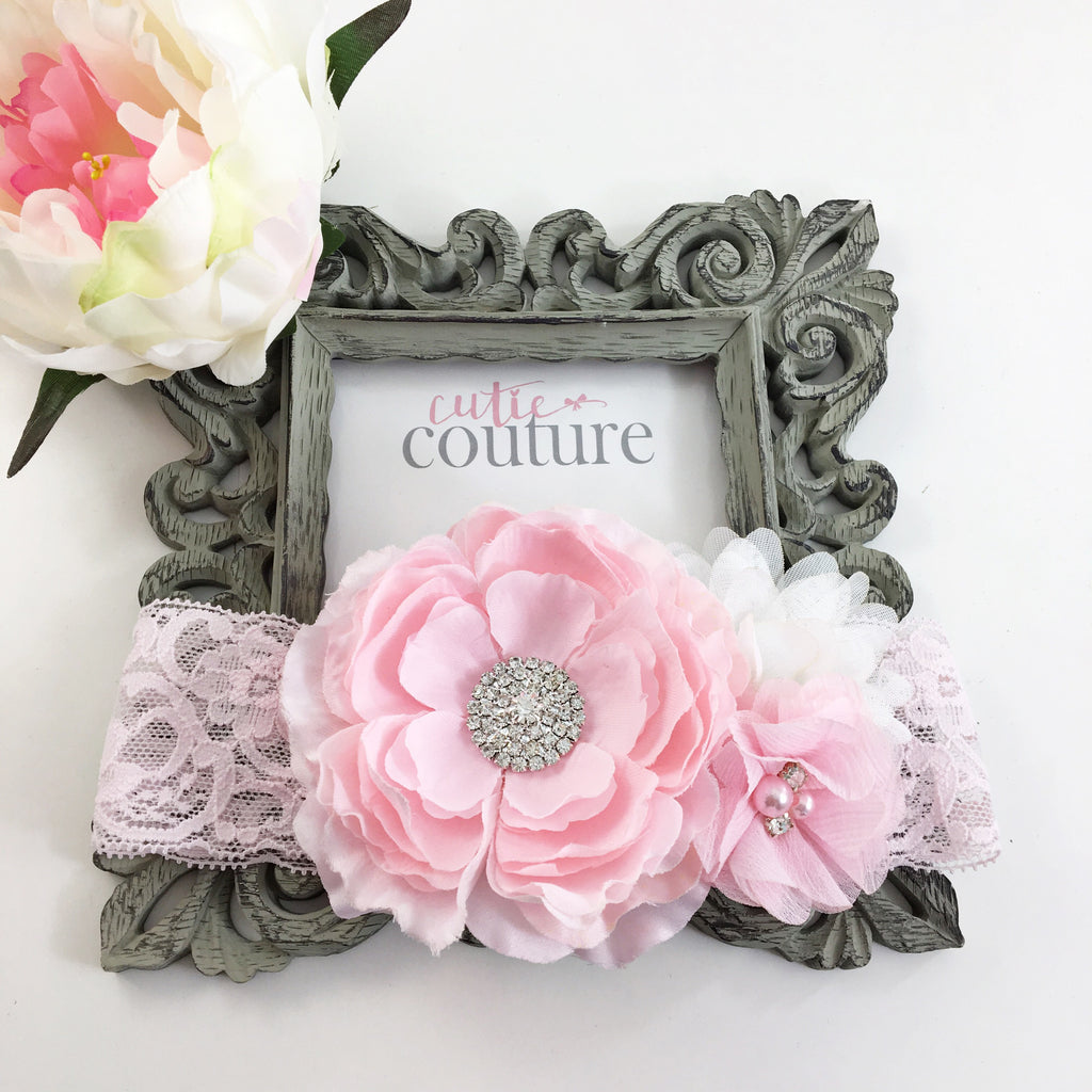 Rosanna- Pink and White Headband
