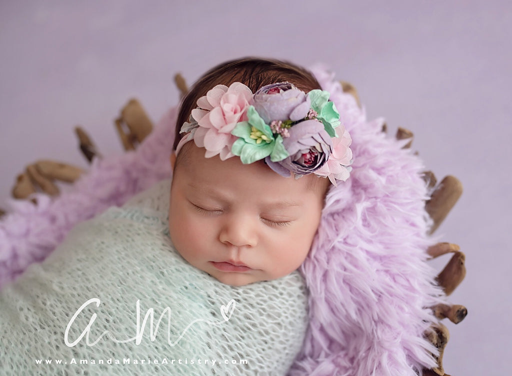 Francesca - pink, lavender and mint flower Headband