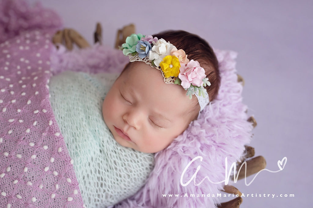 Aubrey -Rainbow Floral Crown Headband