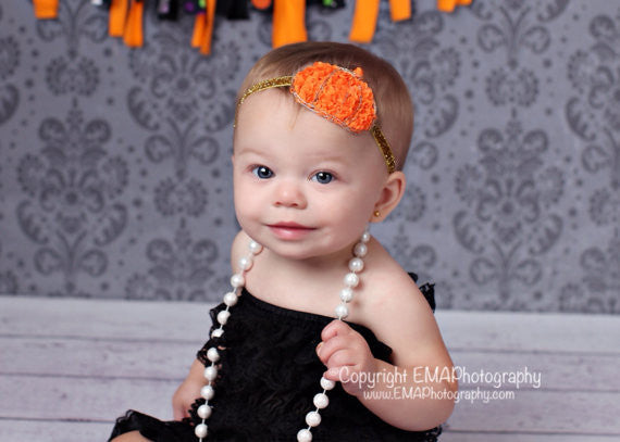 Pumpkin Headband- Orange and Gold Pumpkin Headband