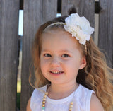 Samantha- White Flower on Gold Sequin Headband