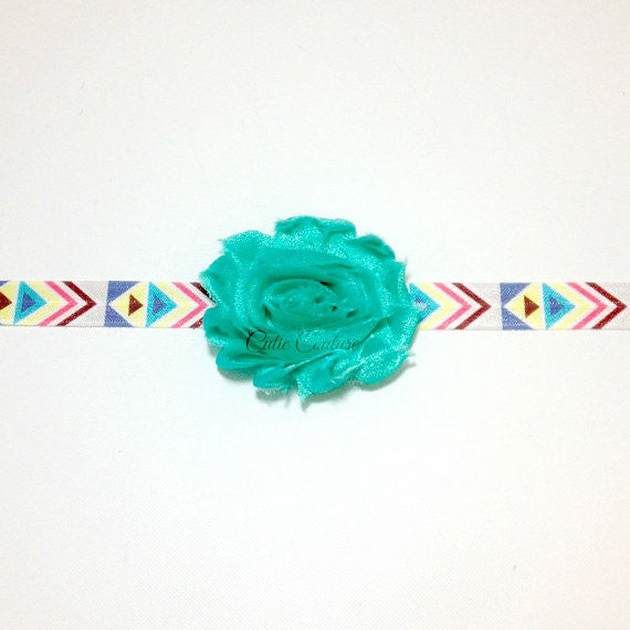 Stella- Teal flower on Aztec elastic