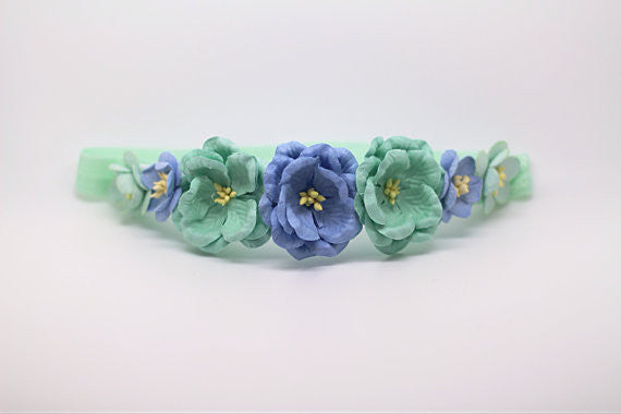 Victoria Floral Crown Headband- Mint and Blue