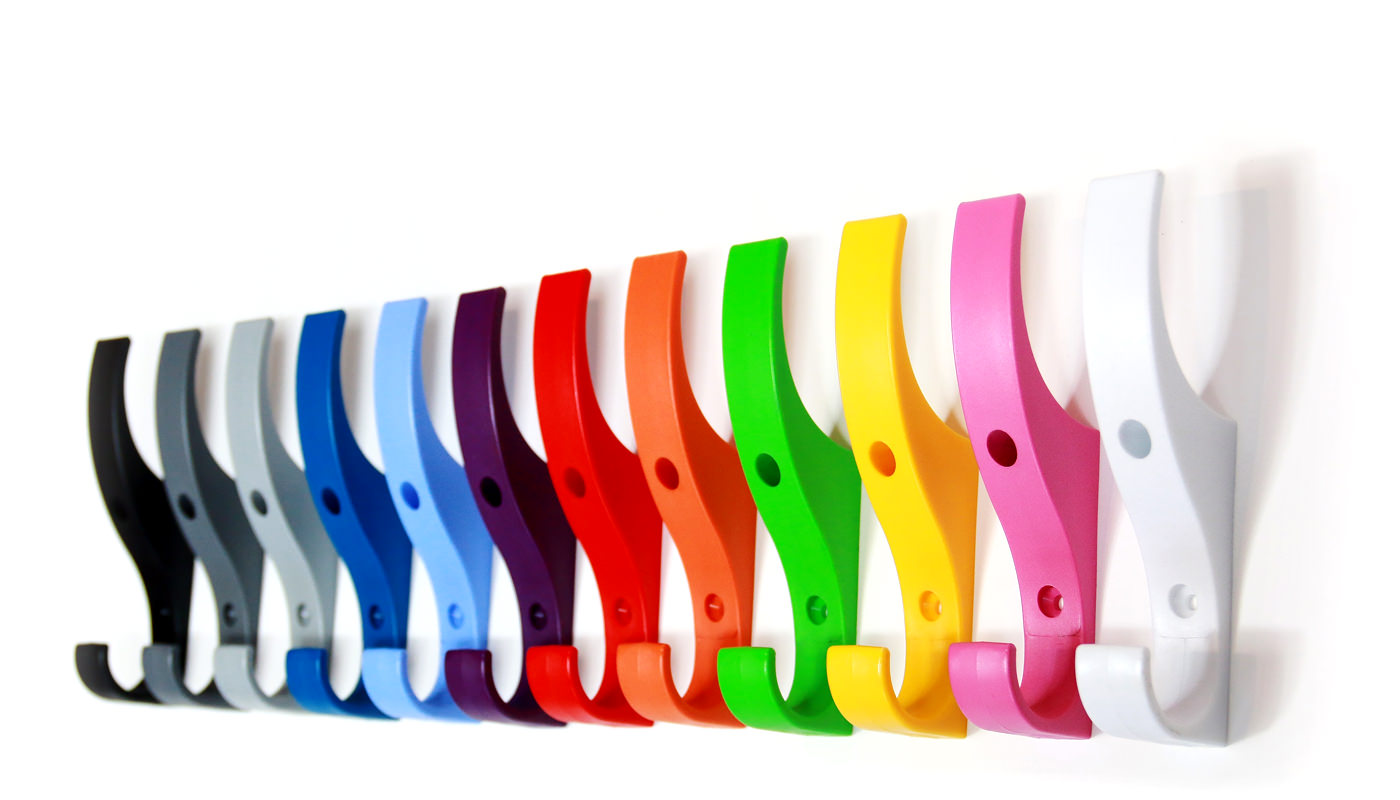 Unbreakable plastic coat hooks on a wall