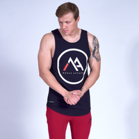 LOGO Scoop Tank Top- Navy