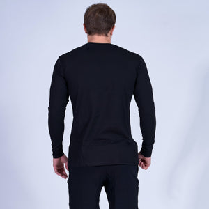 CONTENDER Long Sleeve Shirt- Black w White Stripe