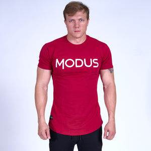 SIGNATURE MODUS Scoop Bottom Tee- Red