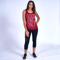 Good Vibes Racerback Tank- Scarlett Red / White