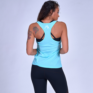 Good Vibes Racerback Tank- Cancun Blue / White