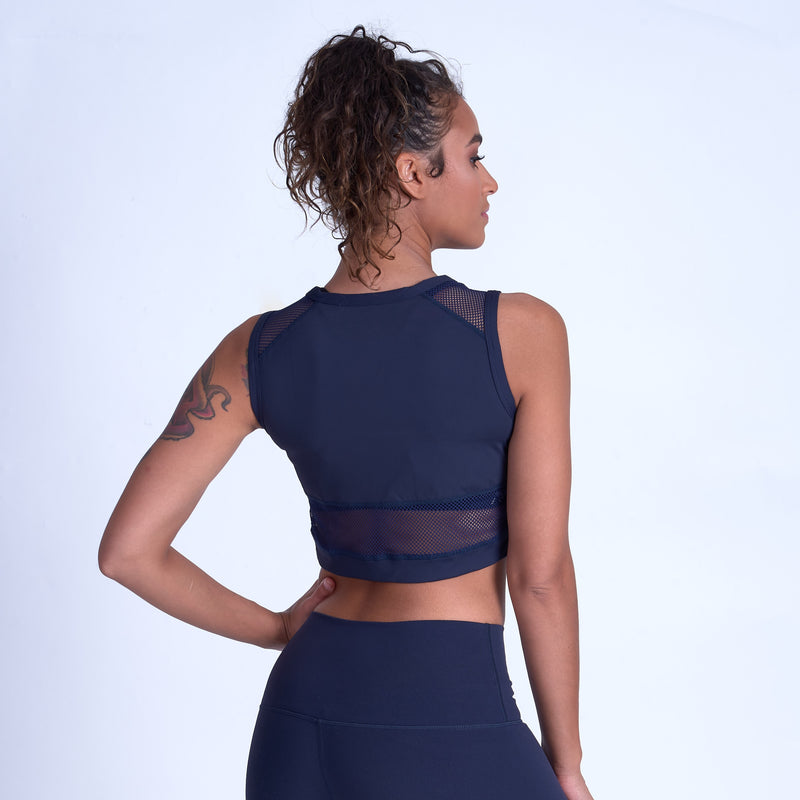 Compliment Mesh Crop Top - Navy Blue