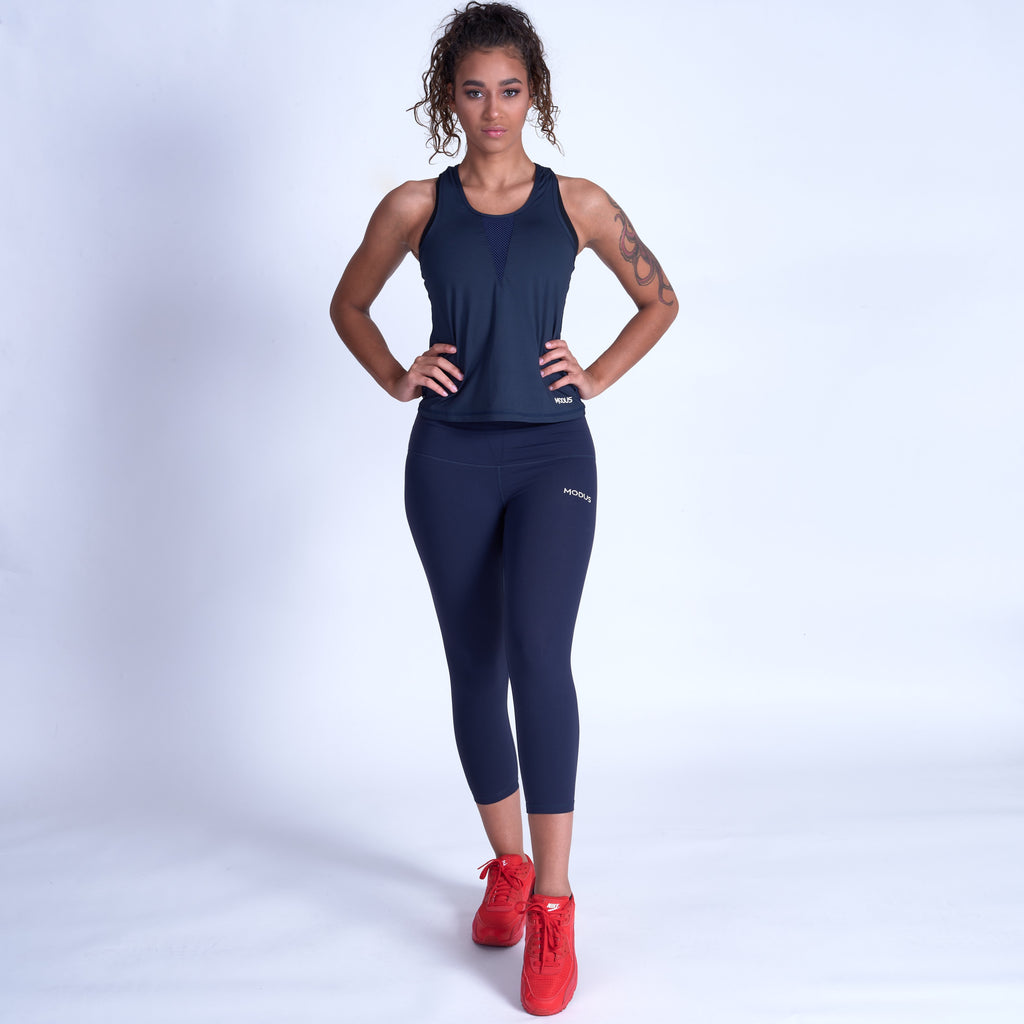 Dream Mesh Racerback Tank - Navy Blue