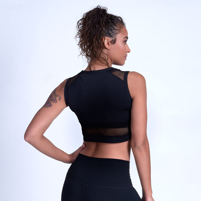 Compliment Mesh Crop Top - Black