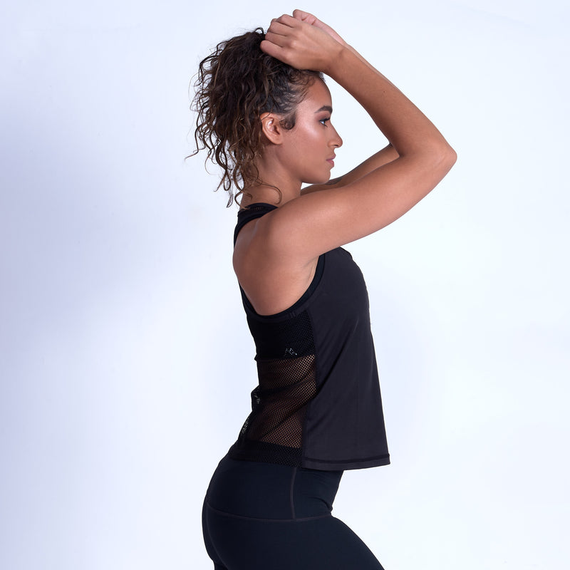 Dream Mesh Racerback Tank - Black