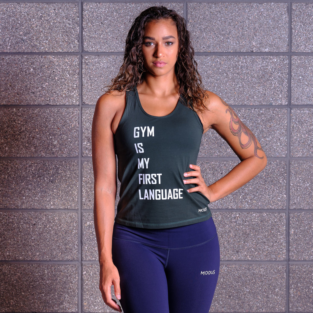 GYM IS MY FIRST LANGUAGE Tank - Green / White
