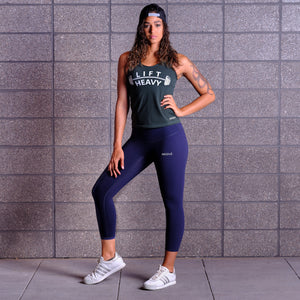 LIFT HEAVY Tank Top- Green / White