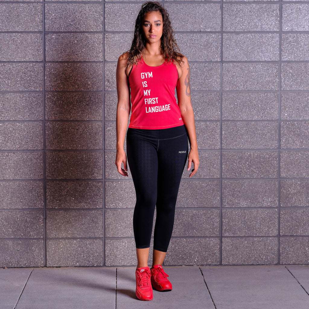 GYM IS MY FIRST LANGUAGE Tank - Red / White
