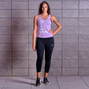 GYM IS MY FIRST LANGUAGE Tank - Lavender / White