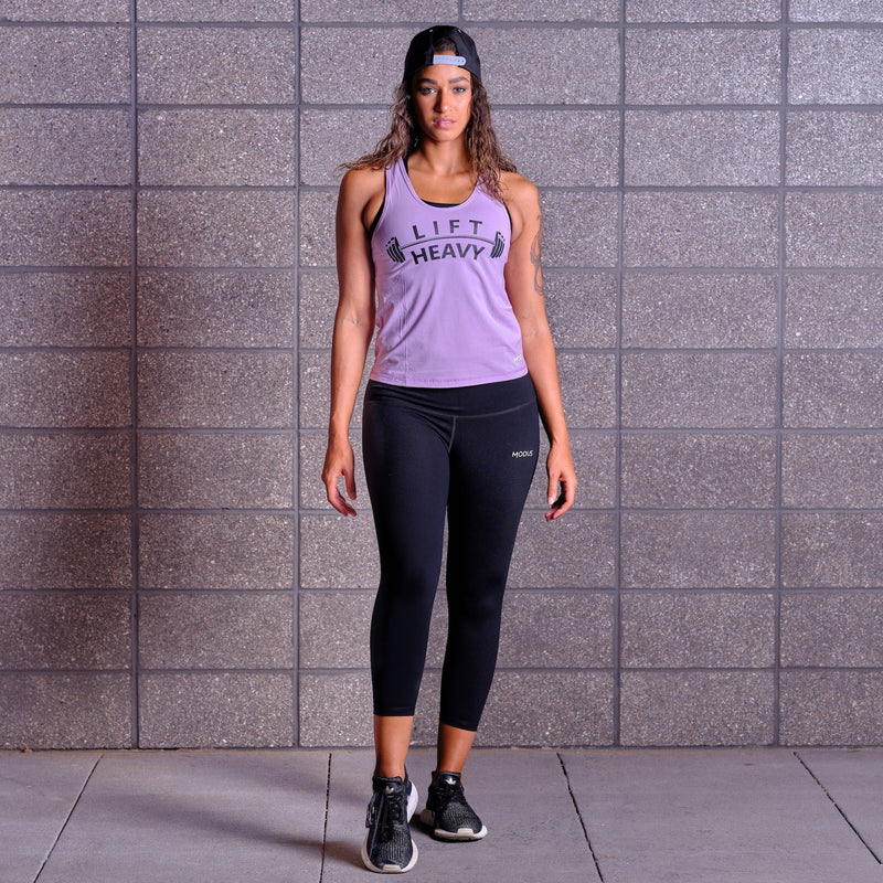 LIFT HEAVY Tank Top- Lavender / Black