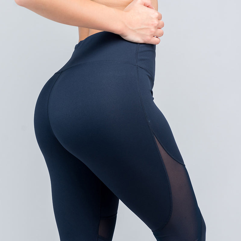 Reveal Mesh Leggings - Navy Blue