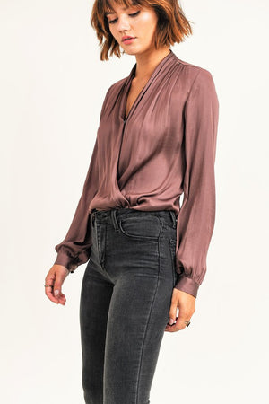 V Neck Wren Bodysuit  in Mauve