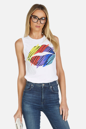 Ashlin Color Scribble Lip Tank