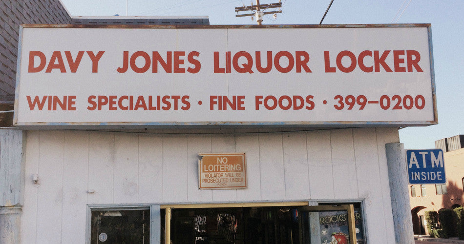 DAVY JONES LIQUOR LOCKER IN SANTA MONICA VENICE BEACH CALIFORNIA TEE SHIRT TRUCKER HATS KOOZIES MADE IN USA EXCLUSIVE LICENSES FROM OUR FAVORITE LIQUOR STORES
