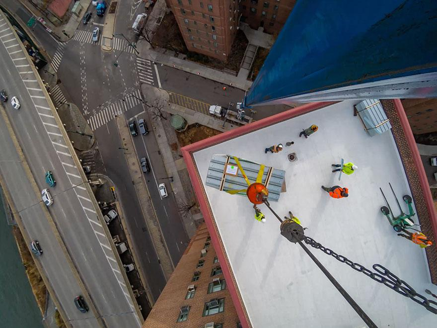 Construction Time Lapse from a Crane: Solar Panel Installation