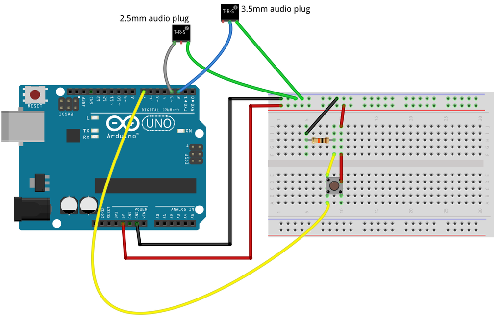GoPro arduino breadboard connection schematic