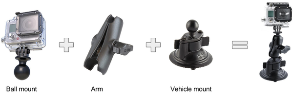 DashCam Mount Diagram for GoPro Cameras