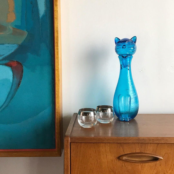 teak, crystal, bareware, decanters, midcentury, mid-century, retro, vintage, brass, ceramic, pottery, west german, blue mountain, art, deco,