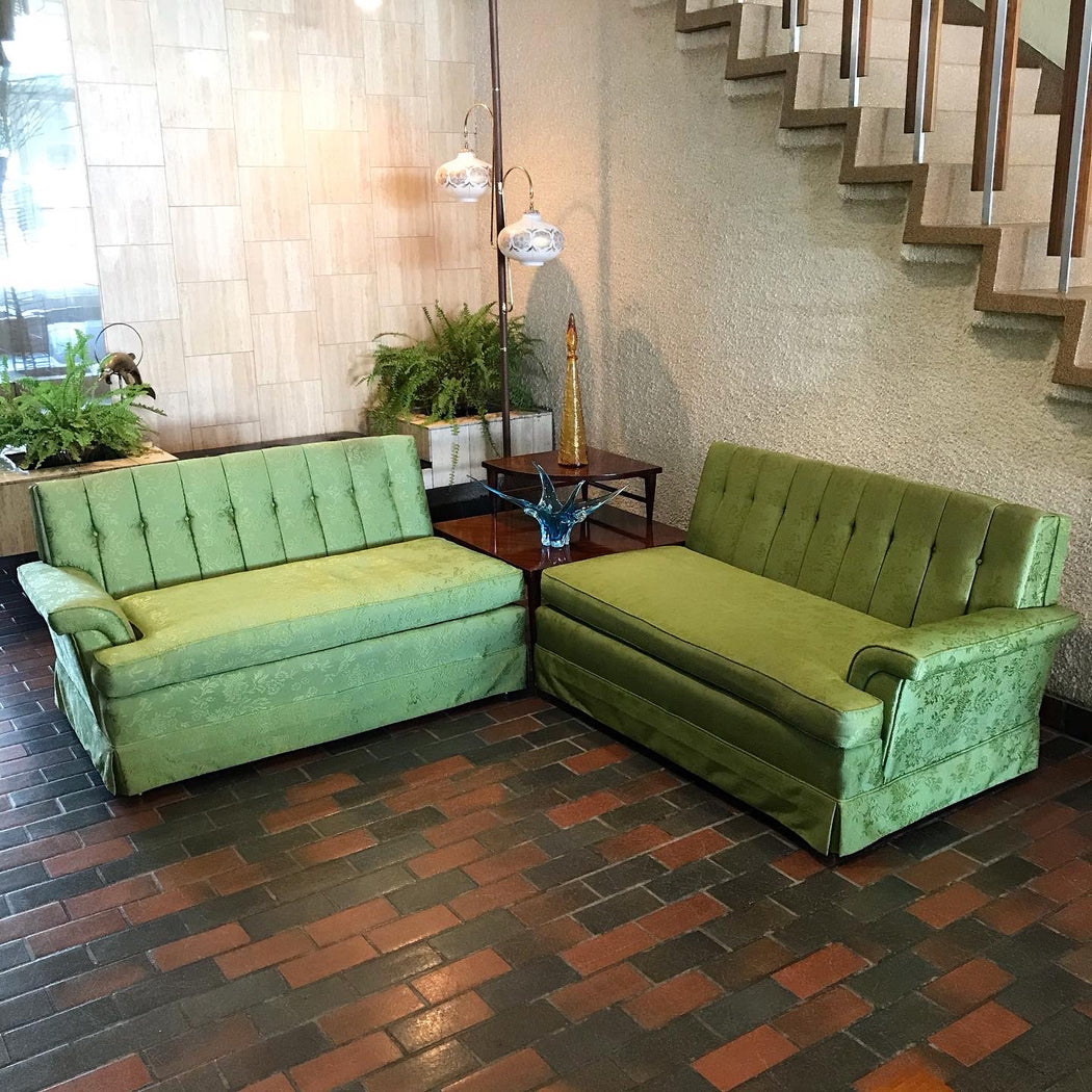 Green Sectional Sofa + Corner Table