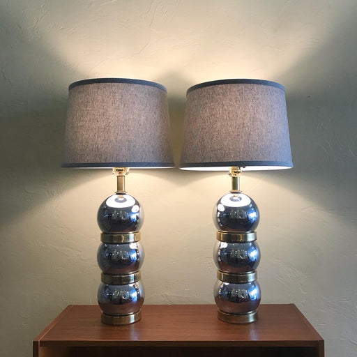 SOLD • Chrome + Brass Ball Lamps
