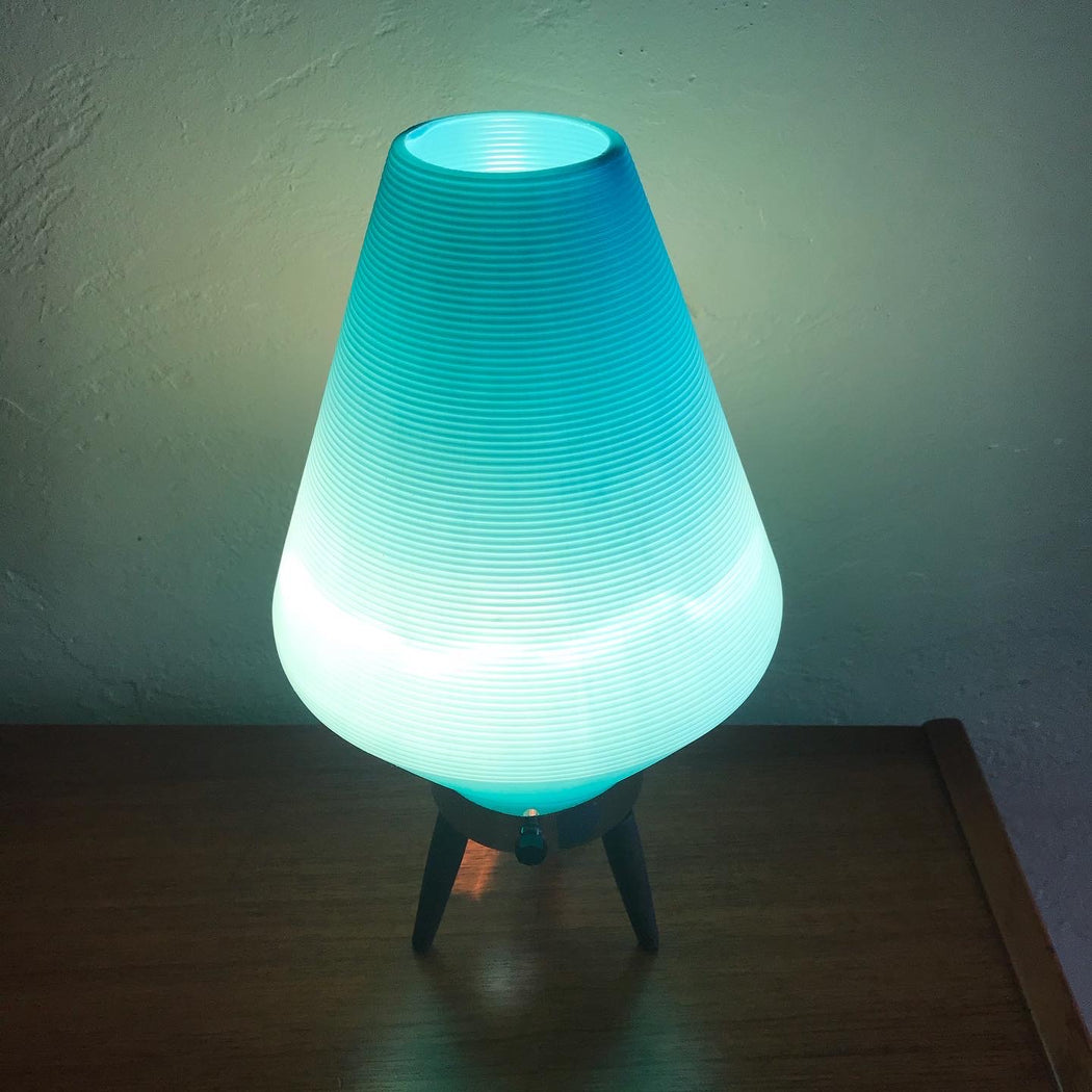 SOLD • Teal Beehive Tripod Lamp