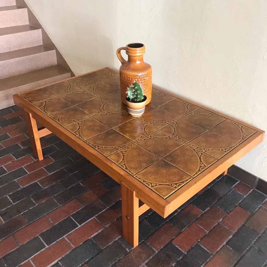 1970s Teak + Tile Coffee Table